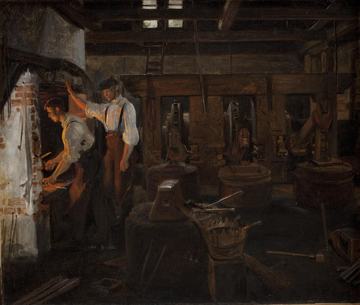 Constantin Hansen (1804-1880), Det indvendige af den gamle hammermoelle ved Hellebaek, 1859