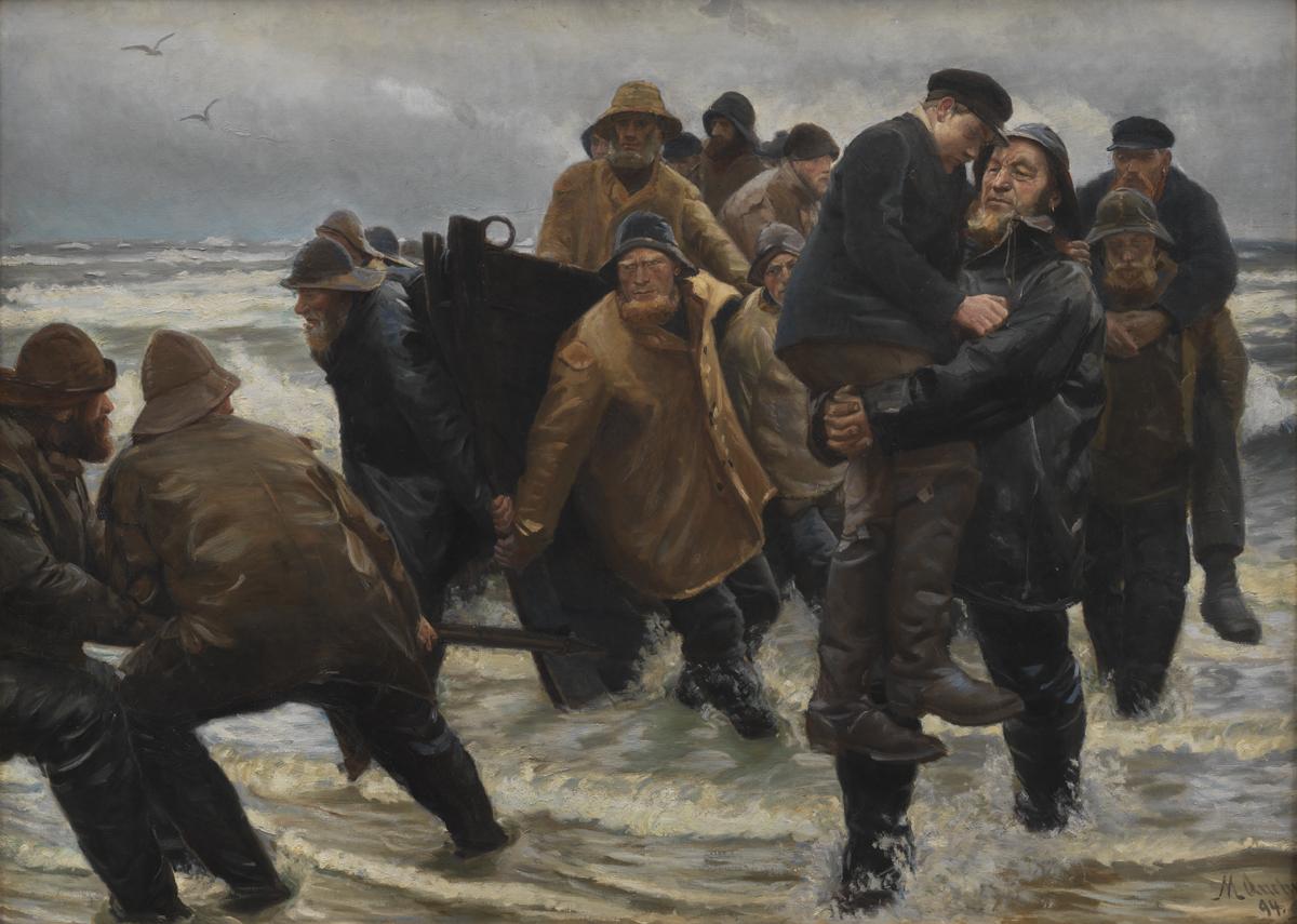 Michael Ancher (1849-1927), Mandskabet reddet, 1894