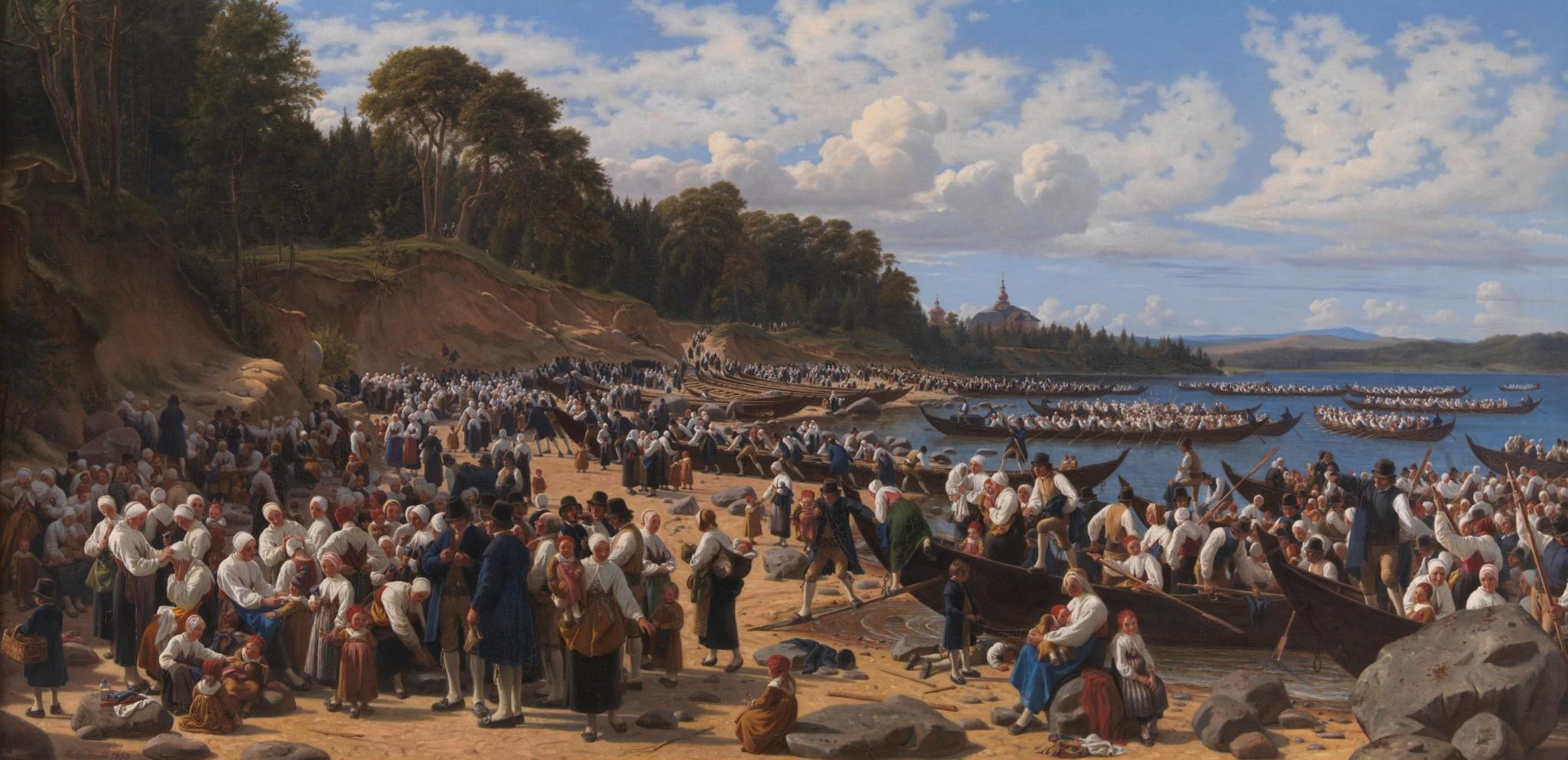 Kirkefærd i Dalarne i Sverige (1853)
